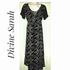 Black White Layered-Look Floral Dress Size Medium